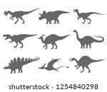 set of dinosaurs silhouette... | Shutterstock .eps vector #1254840298