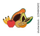 fruits and vegetables   Shutterstock .eps vector #1254845692
