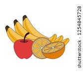 fresh fruits cartoon   Shutterstock .eps vector #1254845728