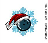 bowling santa snow flake logo   Shutterstock .eps vector #1254851788