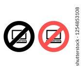 a laptop ban  prohibition icon. ...