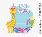 giraffe with party hat with... | Shutterstock .eps vector #1254865705