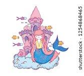 mermaid with castle undersea... | Shutterstock .eps vector #1254868465