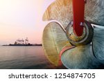 detail of black stern and ship... | Shutterstock . vector #1254874705