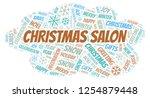 christmas salon word cloud. | Shutterstock . vector #1254879448