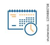 trendy thin line calendar and... | Shutterstock .eps vector #1254880738