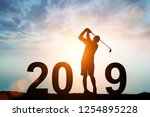 silhouette of man dive golf in...   Shutterstock . vector #1254895228