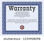 blue retro warranty certificate ... | Shutterstock .eps vector #1254908098
