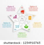 puzzle 5 star banner... | Shutterstock .eps vector #1254910765