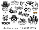 hand drawn black and white... | Shutterstock .eps vector #1254927205