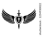 christian angelic wings tattoo  ... | Shutterstock .eps vector #1254930022