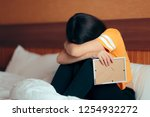sad depressed girl crying after ... | Shutterstock . vector #1254932272