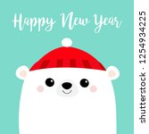 happy new year. polar white... | Shutterstock .eps vector #1254934225