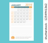 calendar january 2019 year in... | Shutterstock .eps vector #1254941362