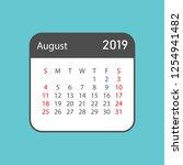 calendar august 2019 year in... | Shutterstock .eps vector #1254941482