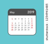 calendar may 2019 year in... | Shutterstock .eps vector #1254941485