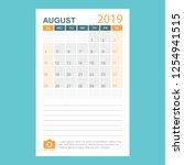 calendar august 2019 year in... | Shutterstock .eps vector #1254941515