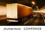 trailer truck rides through... | Shutterstock . vector #1254950428