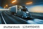 trailer truck rides through... | Shutterstock . vector #1254950455