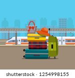 suitcase  bags and other... | Shutterstock .eps vector #1254998155