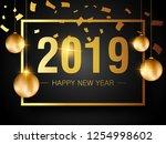 happy new year 2019 creative... | Shutterstock .eps vector #1254998602