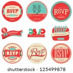 vector set vintage rsvp label | Shutterstock .eps vector #125499878