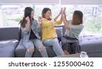happy group of asian friend...   Shutterstock . vector #1255000402