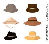 set of hats. head accessories... | Shutterstock . vector #1255002718