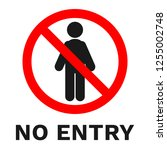 no entry sign. label with... | Shutterstock .eps vector #1255002748