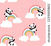 panda seamless pattern... | Shutterstock .eps vector #1255005802