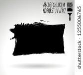 black brush stroke and... | Shutterstock .eps vector #1255006765