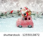 christmas santa with fir tree... | Shutterstock . vector #1255013872