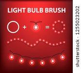 christmas light bulb garland... | Shutterstock .eps vector #1255023202
