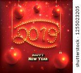 new year design with 2019... | Shutterstock .eps vector #1255023205