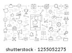 smm icons set. linear... | Shutterstock . vector #1255052275
