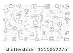 smm icons set. linear... | Shutterstock . vector #1255052275