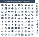100 leisure icons. trendy... | Shutterstock .eps vector #1255053295