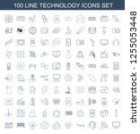 100 technology icons. trendy... | Shutterstock .eps vector #1255053448