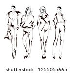 fashion girls sketch. fashion... | Shutterstock .eps vector #1255055665