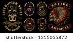 set of designs with skulls in... | Shutterstock .eps vector #1255055872
