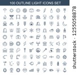 100 light icons. trendy light... | Shutterstock .eps vector #1255058878