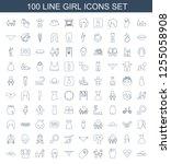 girl icons. trendy 100 girl... | Shutterstock .eps vector #1255058908