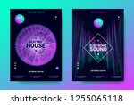 electronic music posters.... | Shutterstock .eps vector #1255065118