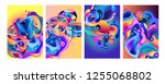 set of modern abstract vector... | Shutterstock .eps vector #1255068802