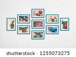 photo frames collage with... | Shutterstock . vector #1255073275