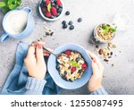 healthy food background with... | Shutterstock . vector #1255087495