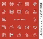 editable 22 rich icons for web... | Shutterstock .eps vector #1255090318