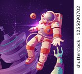 alien first contact cartoon...   Shutterstock .eps vector #1255090702