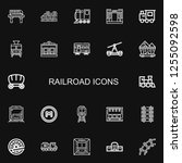 editable 22 railroad icons for... | Shutterstock .eps vector #1255092598