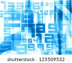 blue abstract light numbers background - stock photo